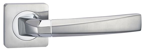 Picture of KABRU LEVER ON SQUARE ROSE - POLISHED & SATIN CHROME