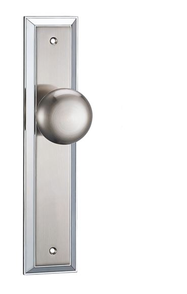 Picture of LINAS KNOB ON BACKPLATE - BRILLIANTE CHROME & PEARLESCENT NICKEL