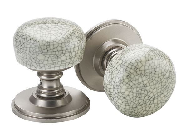 Picture of PORCELLANA CRACKLE KNOBS - COOL BRUSHED NICKEL