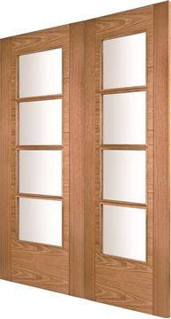 Picture of ISEO K4514 OAK 4-LIGHT (FROSTED GLASS) REBATED PAIR - RHA
