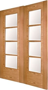 Picture of ISEO K4514 OAK 4-LIGHT (CLEAR BEVELLED GLASS) REBATED PAIR - LHA