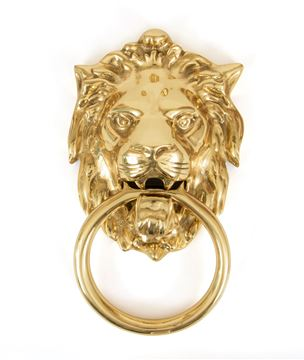 Picture of POLISHED BRASS LION HEAD KNOCKER