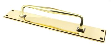 Picture of AGED BRASS 425MM ART DECO PULL HANDLE ON BACKPLATE