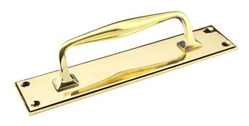Picture of AGED BRASS 300MM ART DECO PULL HANDLE ON BACKPLATE