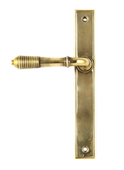 Picture of AGED BRASS REEDED SLIMLINE LEVER LATCH SET