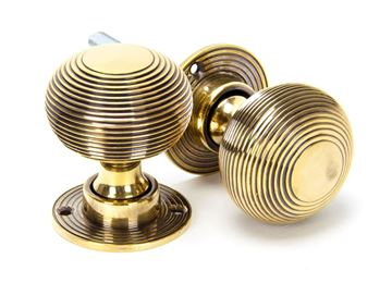 Picture of AGED BRASS HEAVY BEEHIVE MORTICE/RIM KNOB SET