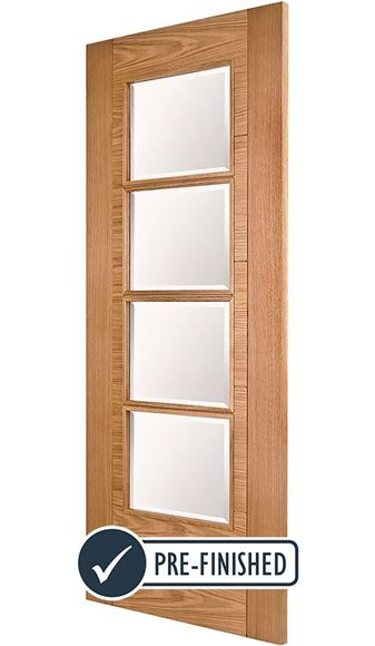 Picture of ISEO K4514 OAK 4-LIGHT (CLEAR BEVELLED GLASS)