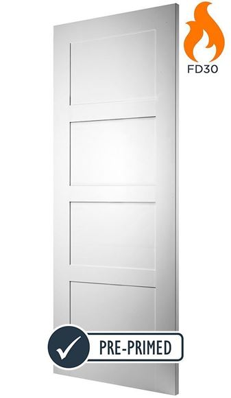 Picture of WHITE CONTEMPORARY 4-PANEL FIRE DOOR (FD30)